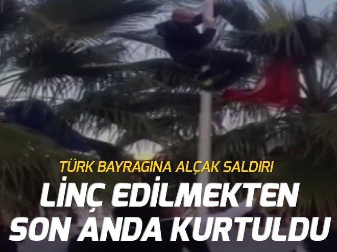 ALANYA'DA TÜRK BAYRAĞINA ALÇAK SALDIRI