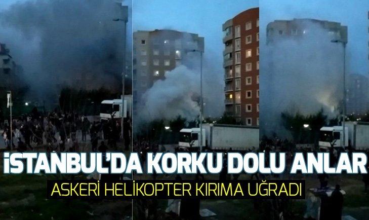İSTANBUL'DA ASKERİ HELİKOPTER KIRIMA UĞRAYARAK DÜŞTÜ
