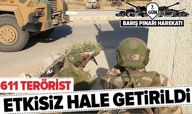 BARIŞ PINARI HAREKATI'NDA 611 TERÖRİST ETKİSİZ HALE GETİRİLDİ
