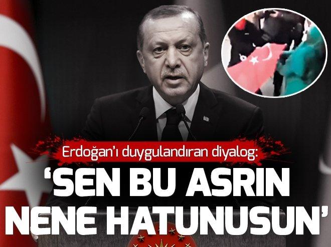 Cumhurbaşkanı Erdoğan İngiltere'de bayrağı vermeyen kadını aradı