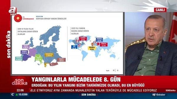 2021 yılında dünyada meydana gelen yangınlar! Başkan Erdoğan tablo üzerinde anlattı