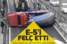 E-5'de kamyonet kazası sabah trafiğini felç etti