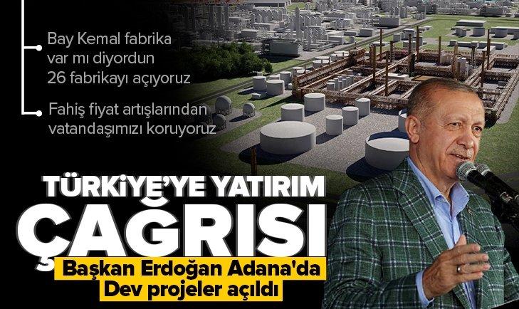 Son dakika: Başkan Erdoğan Adana'da: Türkiye'ye yatırım çağrısı! Dev projeler açıldı