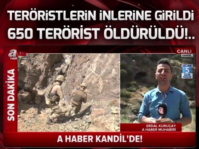 A Haber Kandil'de!.. Teröristlerin inlerine girildi