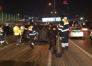 Son dakika! İstanbul'da makas terörü! Otomobil E-5'te takla attı