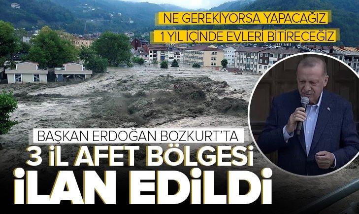 Son dakika: Başkan Erdoğan sel felaketinin yaşandığı Kastamonu'da! 3 il afet bölgesi ilan edildi! Yıkılan evler yeniden yapılacak