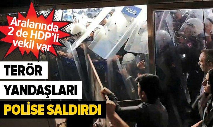 HDP'Lİ 2 VEKİL TERÖR YANDAŞLARIYLA POLİSE SALDIRDI