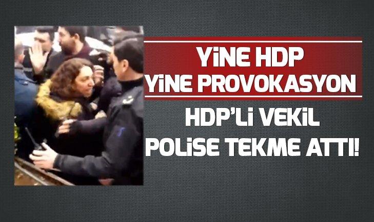 Yine HDP yine provokasyon! HDP'li vekil polise tekme attı