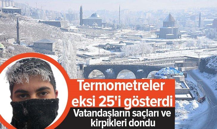 KARS'TA TERMOMETRELER EKSİ 25'İ GÖSTERDİ