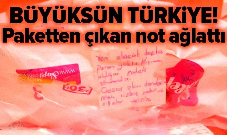 YARDIM PAKETİNDEN ÇIKAN DUYGUSAL NOT!