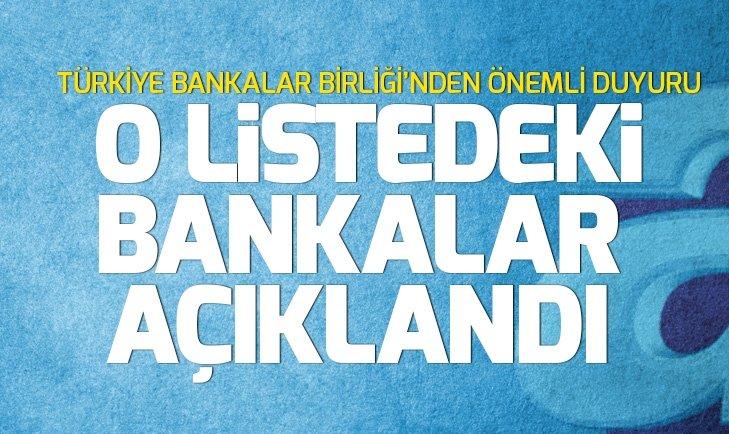 TÜRKİYE BANKALAR BİRLİĞİ'NDEN ÖNEMLİ DUYURU