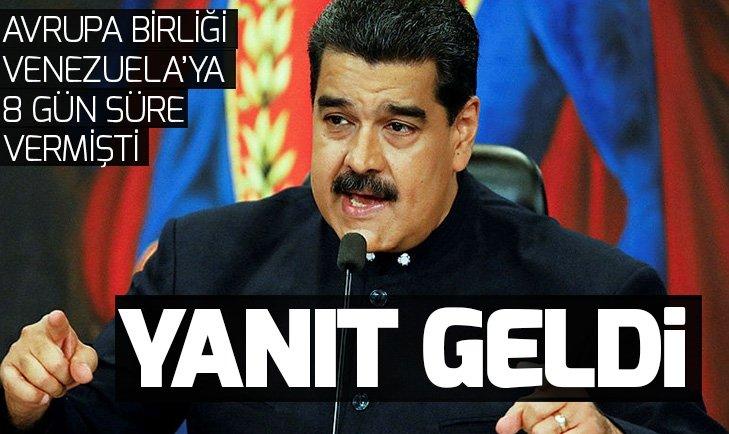 AVRUPA BİRLİĞİ 8 GÜN SÜRE VERMİŞTİ! VENEZUELA'DAN AVRUPA BİRLİĞİ'NE YANIT