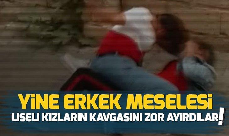 LİSELİ KIZLARIN KAVGASINI ZOR AYIRDILAR!