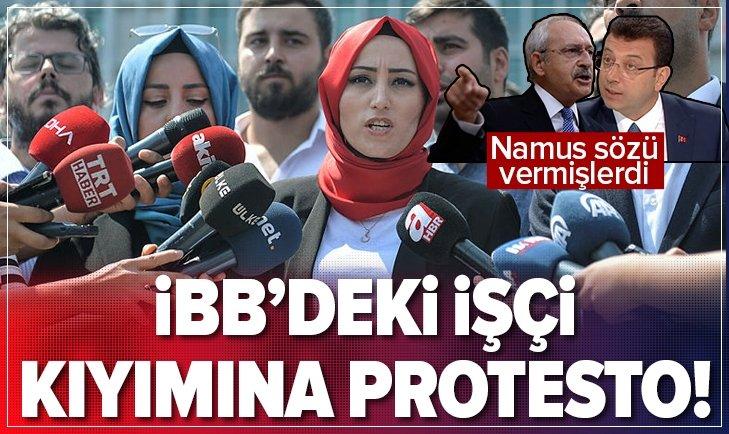 EKREM İMAMOĞLU'NUN İBB'DEKİ İŞÇİ KIYIMINA PROTESTO