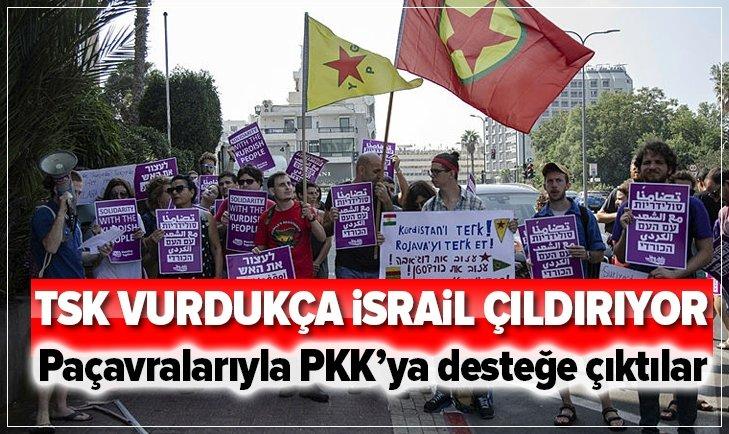 TEL AVİV'DE TERÖR ÖRGÜTÜ YPG/PKK'YA DESTEK EYLEMİ
