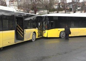 Son dakika: Başakşehir'de İETT otobüsleri kafa kafaya çarpıştı