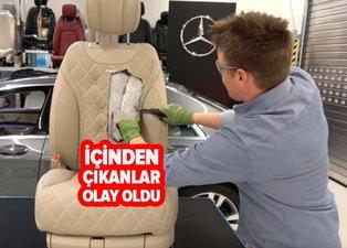 Mercedes koltuğunu kesenler şaşkına döndü! Mercedes koltuğunun içinden bakın neler çıktı!