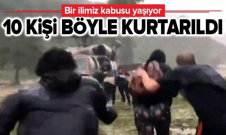 DÜZCE'DE 10 KİŞİ BÖYLE KURTARILDI!