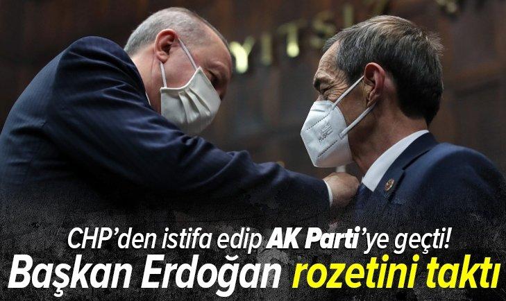 Başkan Erdoğan, CHP'den ayrılıp AK Parti'ye katılan Nejat Önder'e rozet taktı