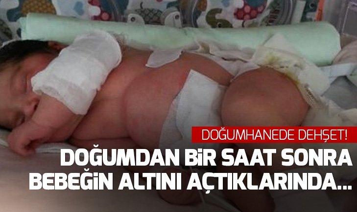 Konya'da doğumhanede dehşet! Doğumdan bir saat sonra bebeğin sırtında...