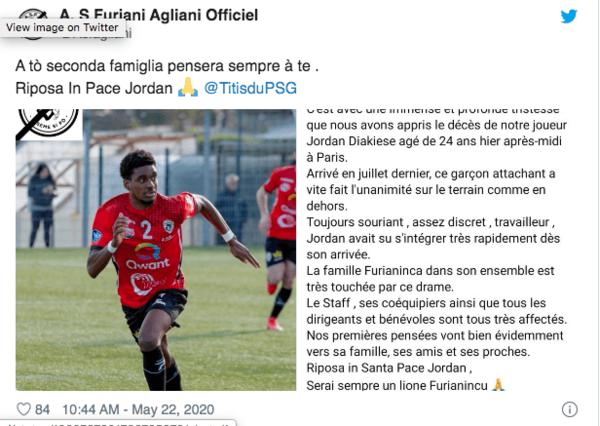 PSG'nin genç oyuncusu Jordan Diakiese hayatını kaybetti