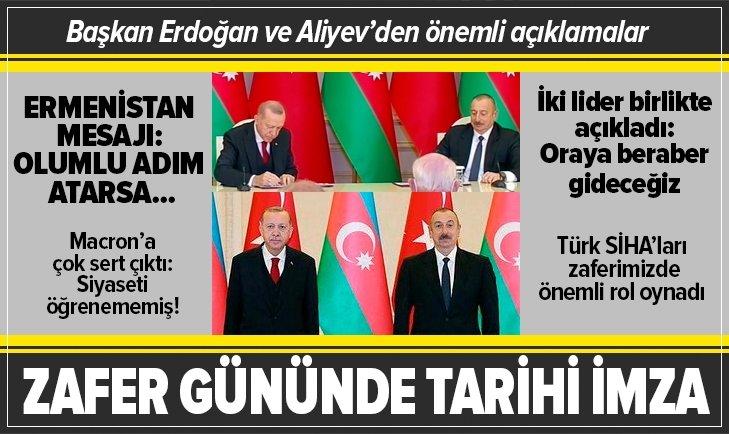 Başkan Erdoğan ve Aliyev'den önemli açıklamalar
