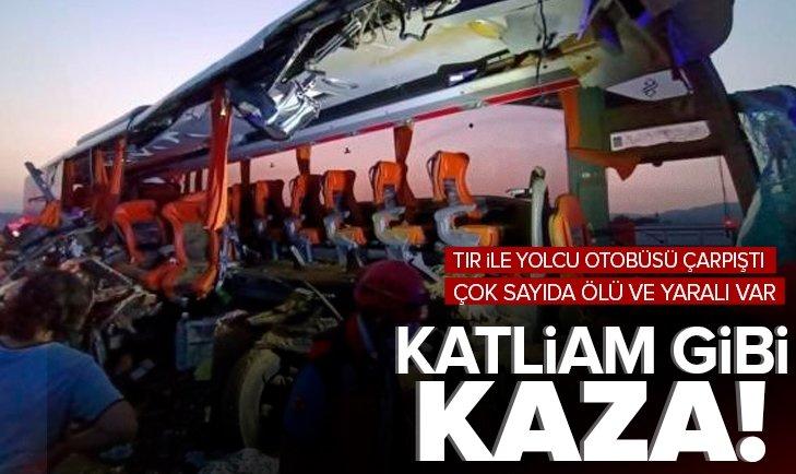Son dakika: Manisa'da TIR ile yolcu otobüsü çarpıştı! Çok sayıda ölü ve yaralılar var