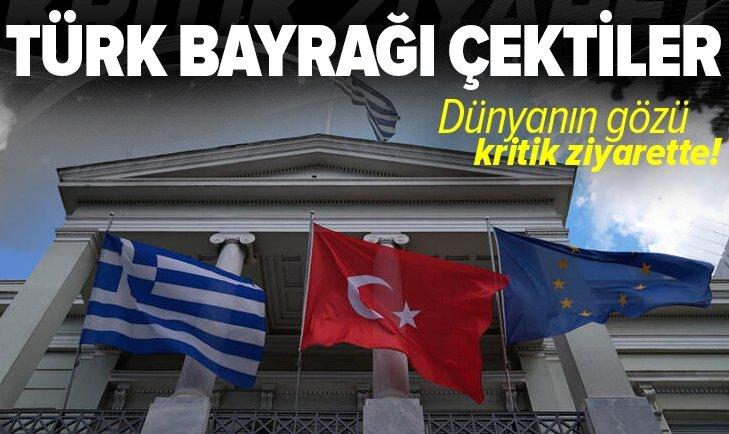 Son dakika: Dışişleri Bakanı Mevlüt Çavuşoğlu Yunanistan'da! Türk bayrağı çektiler