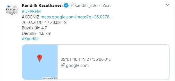 Son dakika: Akdeniz'de deprem! Kandilli AFAD son depremler 1