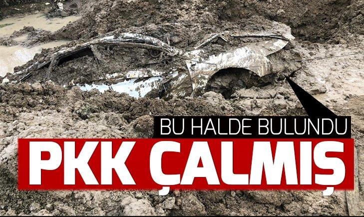 PKK'LI TERÖRİSTLERİN ÇALDIĞI LÜKS OTOMOBİL, TOPRAĞA GÖMÜLÜ BULUNDU