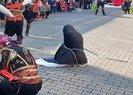 Çarşaflı Türk kadını zincire vuruldu!