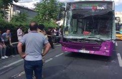 İstanbul'da halk otobüsü kaza yaptı! Yoğun trafik...
