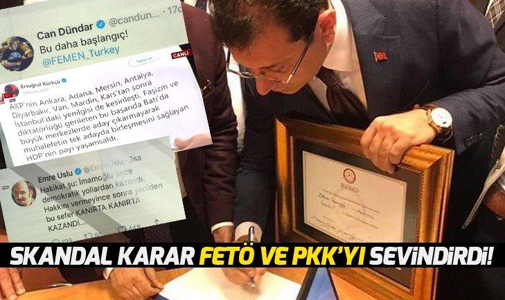 İl Seçim Kurulu'nun skandal mazbata kararına sevinen PKK ve FETÖ oldu