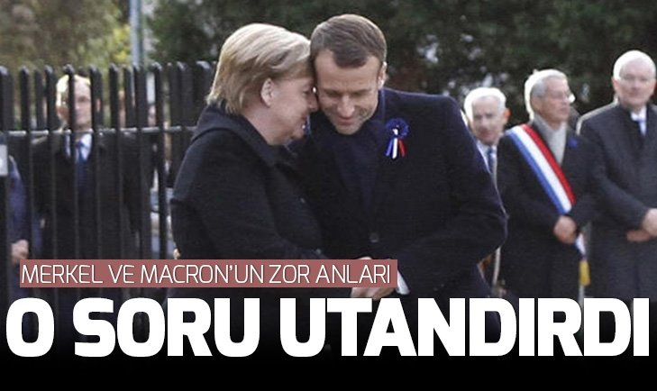 Merkel ve Macron'u utandıran anlar