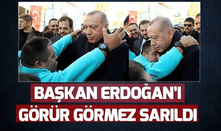 BAŞKAN ERDOĞAN'I GÖRÜR GÖRMEZ SARILDI!