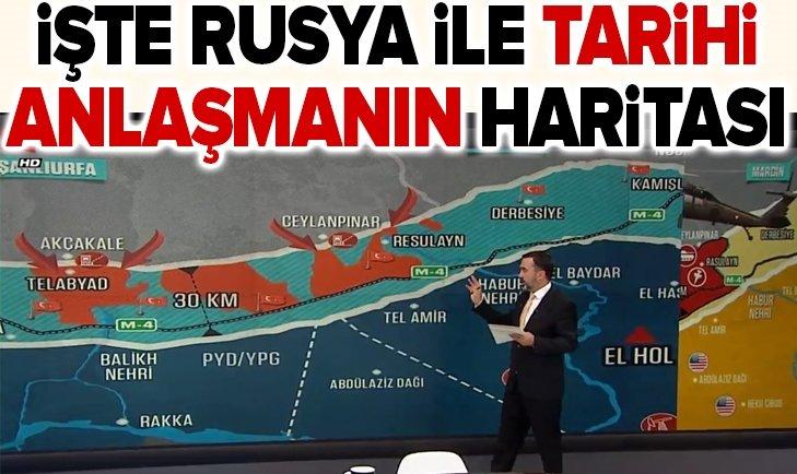 İşte harita üzerinde Rusya ile anlaşmaya varılan Suriye mutabakatı