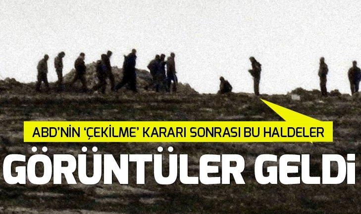 ABD'nin Suriye'den çekilme kararının ardından PKK/PYD'li teröristler toplantı halindeyken görüntülendi