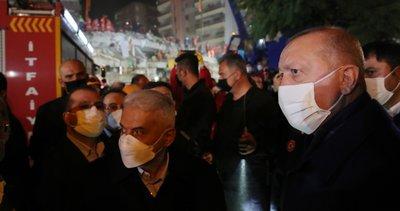 Başkan Erdoğan, İzmir'de deprem bölgesinde! Kurtarma çalışmalarını yerinde inceledi