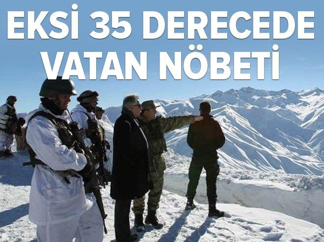 VALİDEN EKSİ 35 DERECEDE NÖBET TUTAN ASKERLERE ZİYARET