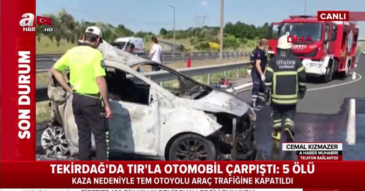 Tekirdağ Çorlu'da korkunç kaza! TIR ile otomobil kafa kafaya çarpıştı: 5  ölü |Video