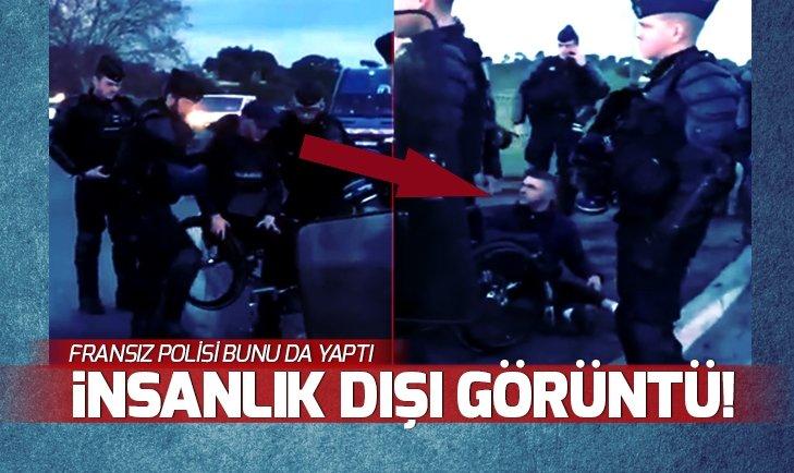 FRANSIZ POLİSİ ENGELLİ GENCİ YERLERDE SÜRÜKLEDİ!