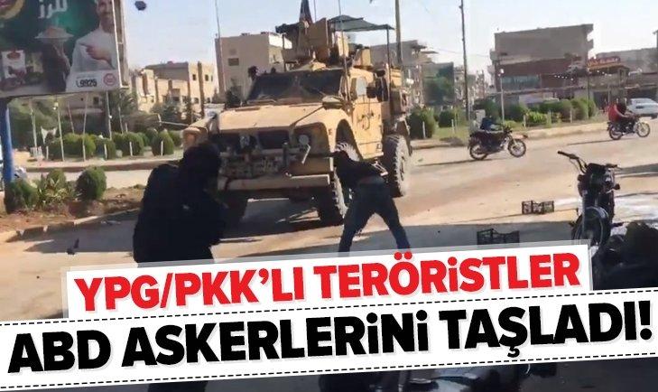 YPG/PKK'LI TERÖRİSTLER ABD ASKERLERİNİ TAŞLADI!