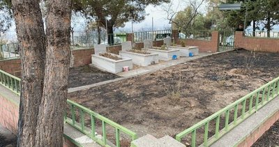 Hatay'da hayrete düşüren manzara: Alevlerin arasında kalan şehitlik yangından etkilenmedi