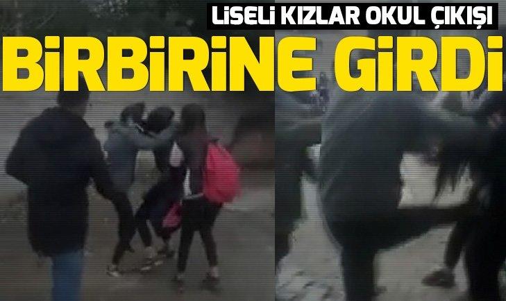 Liseli kızların kavgası kamerada