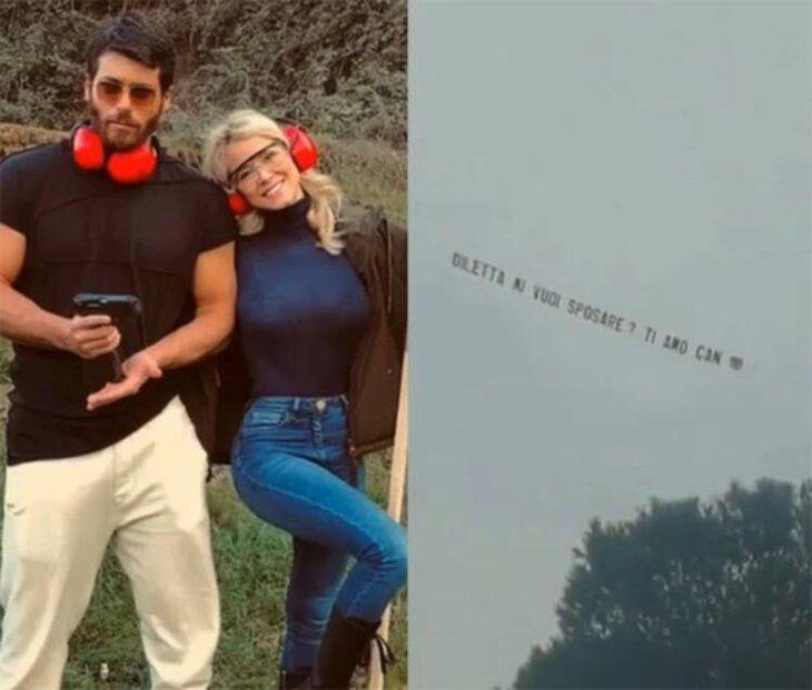 Can Yaman'dan sürpriz hamle! Diletta Leotta'ya gökyüzünde evlenme teklifi etti!