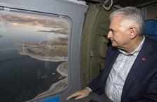 Başbakan Yıldırım, Ağın Köprüsü'nü havadan inceledi