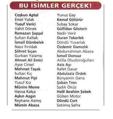 Türkiyenin En Ilginç Isimleri A Haber