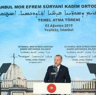 Butona Başkan Erdoğan bastı! Süryani Kilisesinin temeli atıldı...