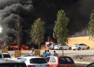 Ankara'da park halindeki 6 araç alev alıp yandı