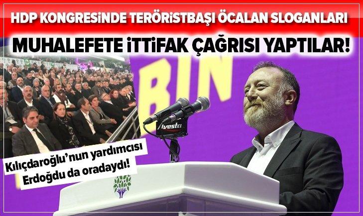 HDP KONGRESİNDE TERÖRİSTBAŞI ÖCALAN'A DESTEK SLOGANLARI!